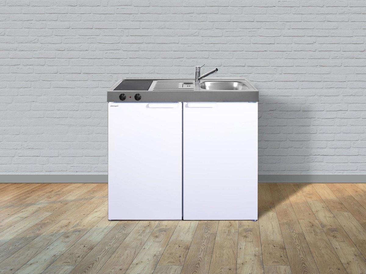 Favorit Stengel Singleküche MK 100 aus Edelstahl mit Kühlschrank BP85