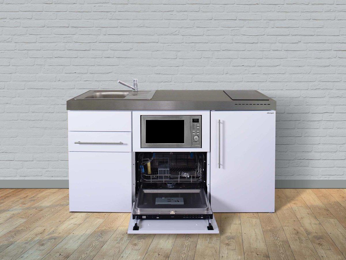 Stengel Miniküche Premiumline MPGSM 160 mit Kühlschrank, Geschirrspüler und  Mikrowelle