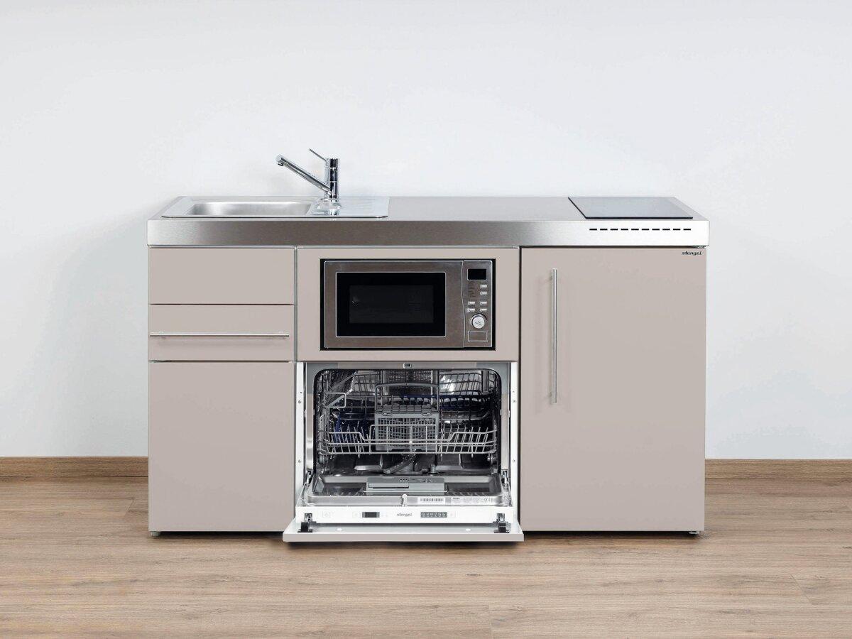 Stengel Miniküche Premiumline MPGSM 150 Kleinküche mit Kühlschrank,  Geschirrspüler und Mikrowelle
