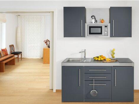 MATTEO 160 - Küchenzeile mit Geschirrspüler, Mikrowelle und Kühlschrank 160cm