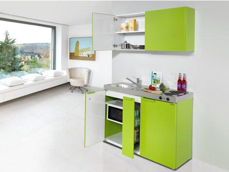 CAMILLA 120 -  Günstige Küchenzeile mit Mikrowelle, Kühlschrank und Ausziehschrank 120cm