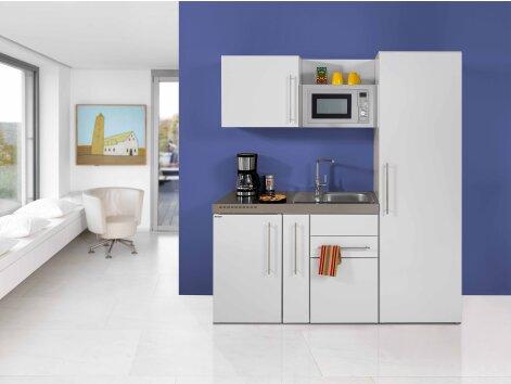 RICARDO 180 - Küchenzeile mit Mikrowelle, Apothekerschrank und Kühlschrank 180cm