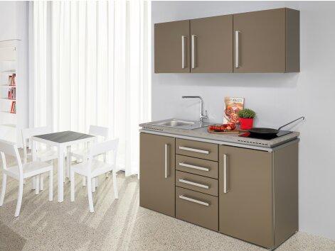 LUCA 150 - Küchenzeile mit Kühlschrank und Schubladen-Unterbau 150cm