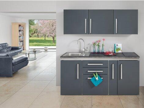 MARCO 180 - Küchenzeile mit Kühlschrank und Apothekerauszug 180cm